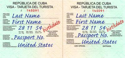 Cuban Tourist Card