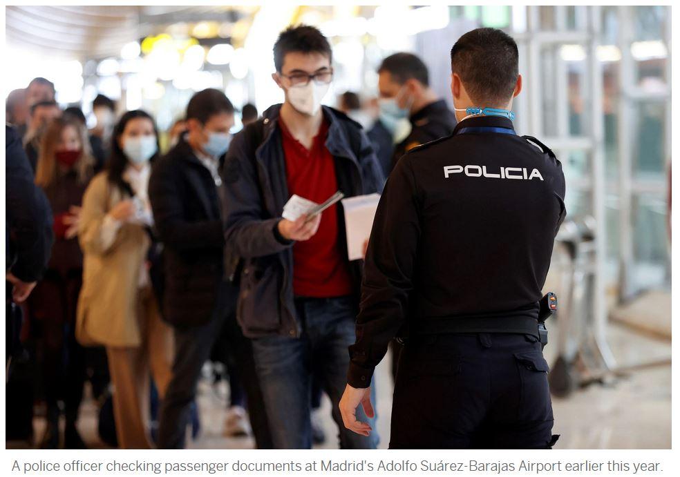 Visitors enter Spain